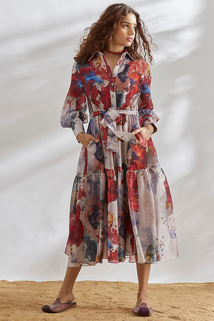 Multi colored Tie-Up Dress by House of Three