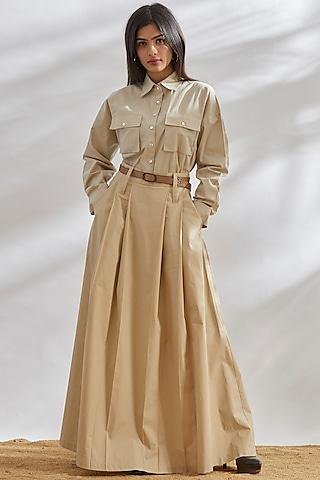 Beige Cotton Poplin Maxi Skirt by House of Three
