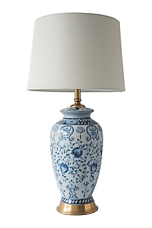 Cobalt Blue Floral Table Lamp by Theos