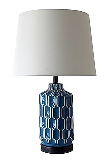 Bold Blue Patterned Table Lamp by Theos