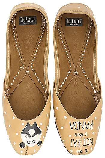 Beige Panda Motif Juttis by The Haelli
