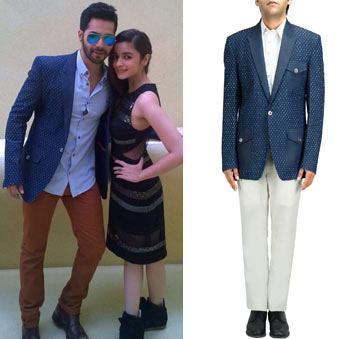 Perforated denim slim fitted coat by Theorem by Nitin Chawla