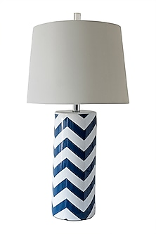 Blue Chevron Pattern Table Lamp by Theos