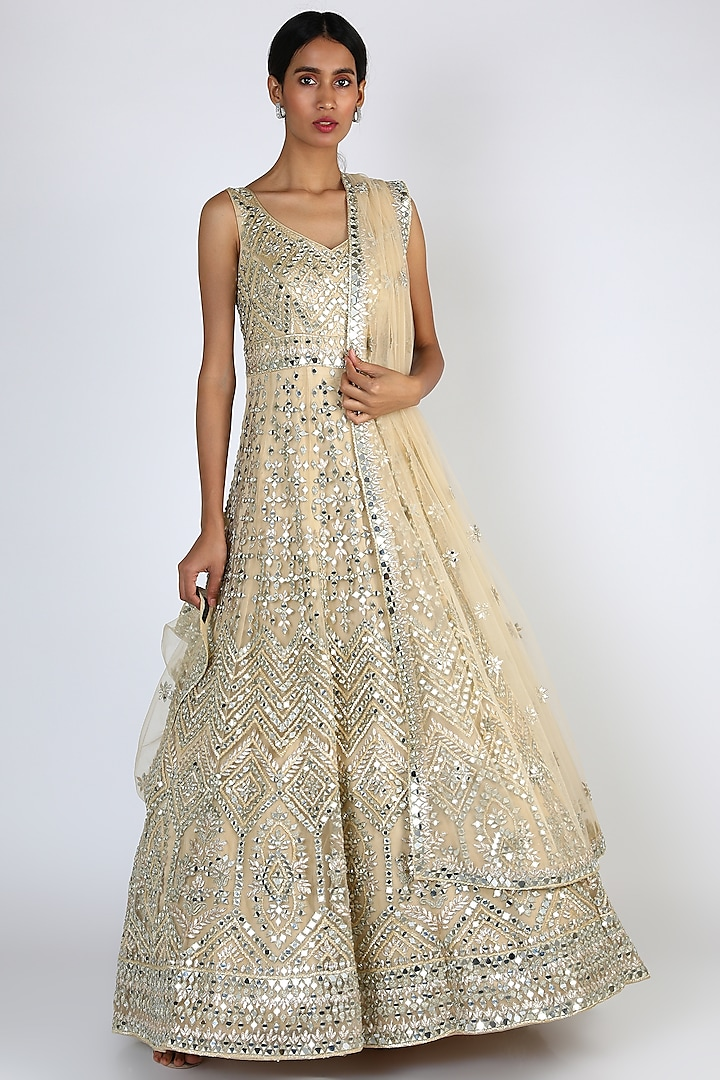 Gold Embroidered Gown With Dupatta by The Indian bridal company