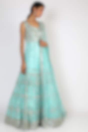 Firozi Blue Embroidered Gown With Dupatta by The Indian bridal company
