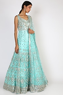 Firozi Blue Embroidered Gown With Dupatta by The Indian bridal company-POPULAR PRODUCTS AT STORE
