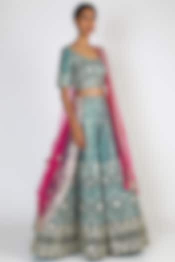 Peacock Blue Embroidered Lehenga Set by The Indian bridal company