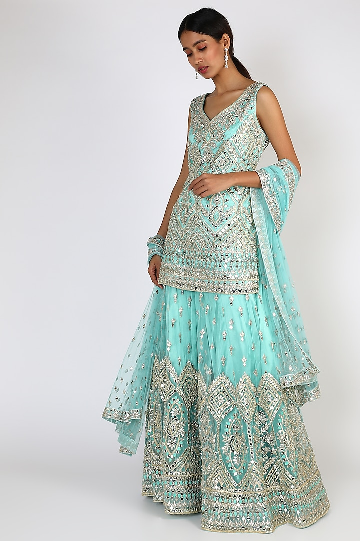 Ice Blue Embroidered Sharara Set by The Indian bridal company