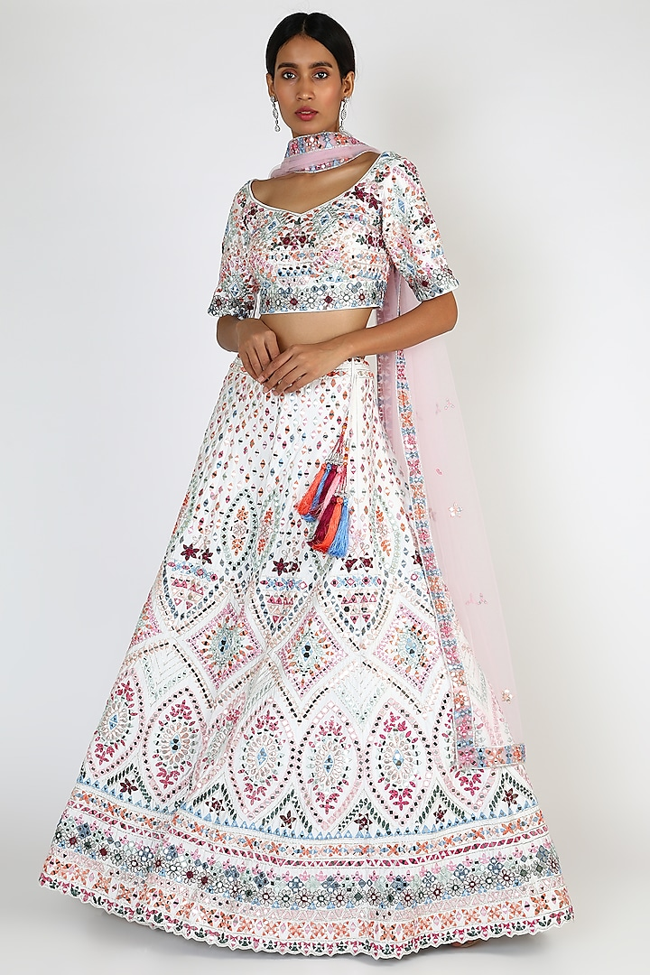 Off White Embroidered Lehenga Set by The Indian bridal company