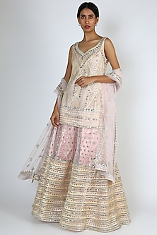 Blush Pink Embroidered Sharara Set by The Indian bridal company-POPULAR PRODUCTS AT STORE
