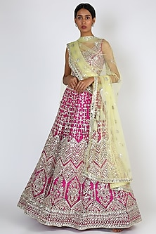 Crimson Pink Embroidered Lehenga Set by The Indian bridal company-POPULAR PRODUCTS AT STORE