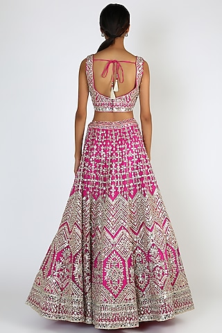 Crimson Pink Embroidered Lehenga Set by The Indian bridal company
