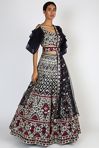 Midnight Blue Embroidered Lehenga Set by The Indian bridal company
