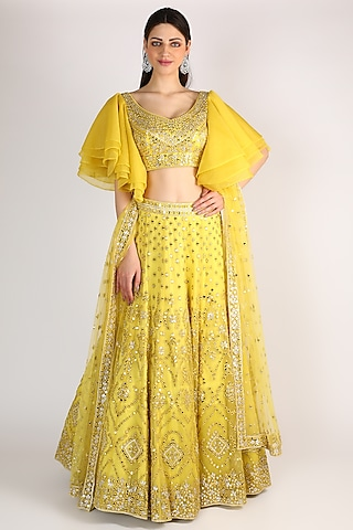Bright Yellow Embroidered Lehenga Set by The Indian bridal company