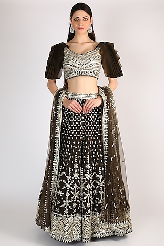 Forest Green Embroidered Lehenga Set by The Indian bridal company
