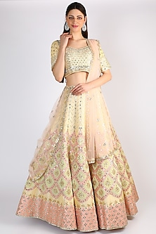 Light Lemon Yellow Embroidered Lehenga Set by The Indian bridal company-POPULAR PRODUCTS AT STORE