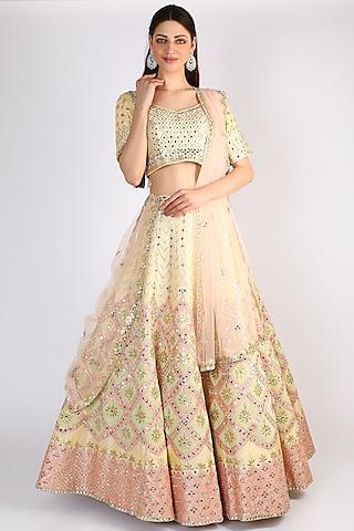 Light Lemon Yellow Embroidered Lehenga Set by The Indian bridal company
