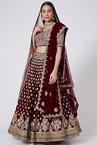 Maroon Embroidered Lehenga Set by The Indian bridal company