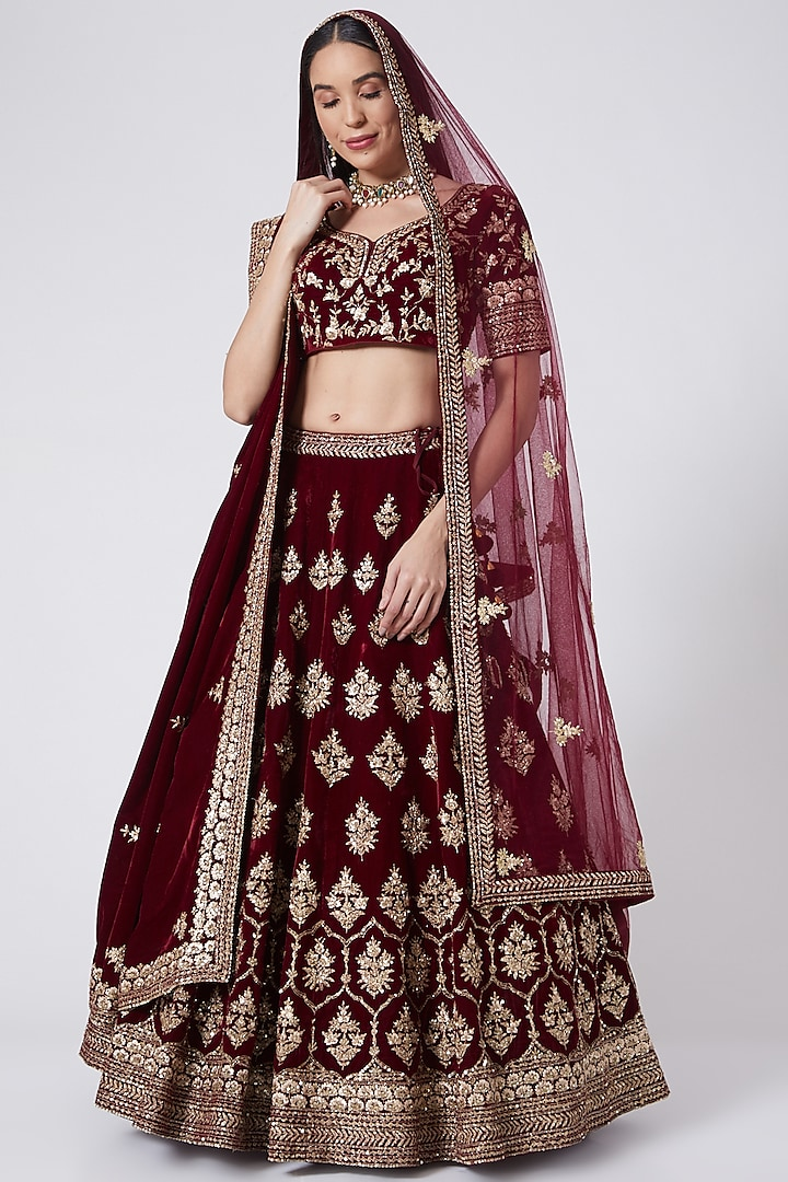 Maroon Embroidered Lehenga Set With Two Dupattas by The Indian bridal company