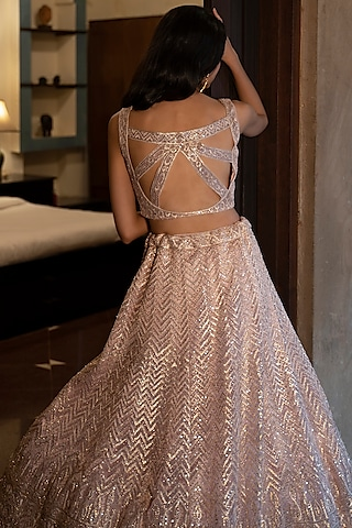 Blush Pink Gota Embroidered Lehenga Set by the Indian bridal company