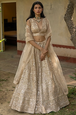 Gold Embroidered Lehenga Set by the Indian bridal company