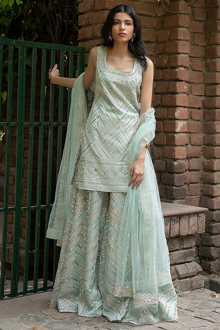 Mint Green Embroidered Sharara Set by the Indian bridal company