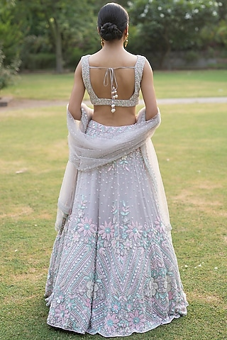 Grey Embroidered Lehenga Set by the Indian bridal company