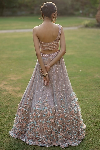 Peach Sequins Embroidered Lehenga Set by the Indian bridal company