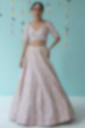 Blush Pink Gota Patti Embroidered Lehenga Set by the Indian bridal company
