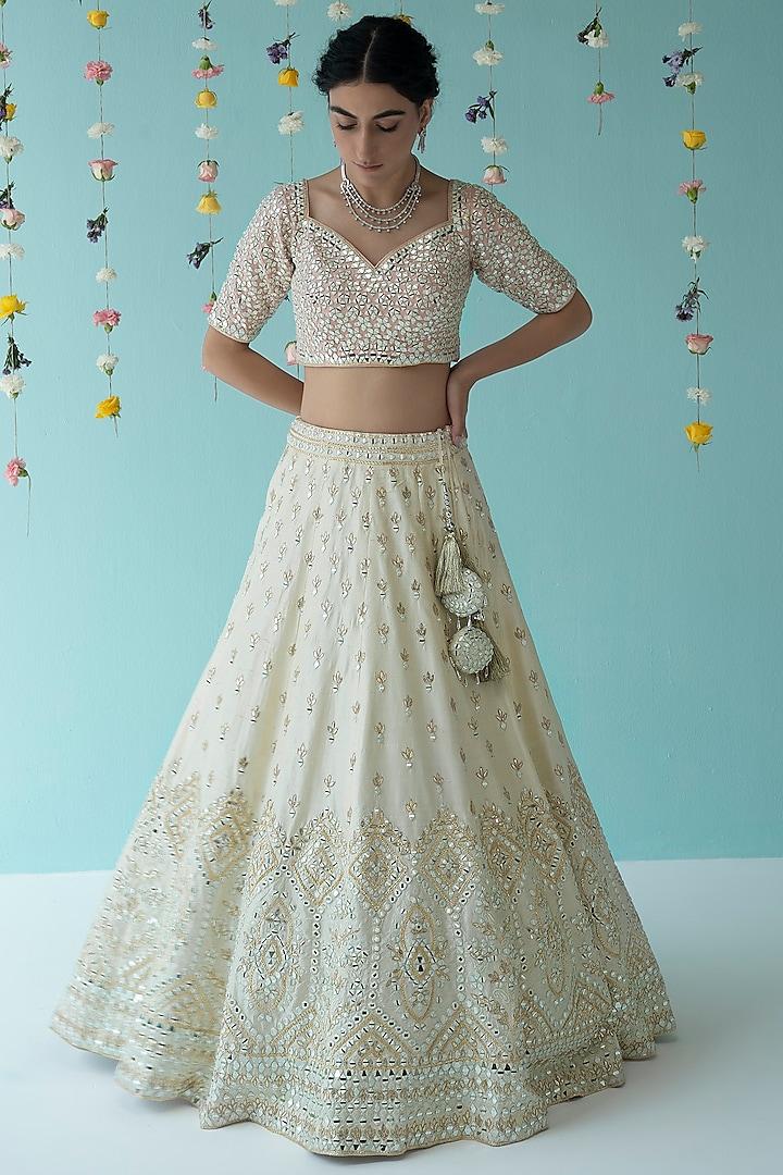 Ivory Gota Patti Embroidered Lehenga Set by the Indian bridal company