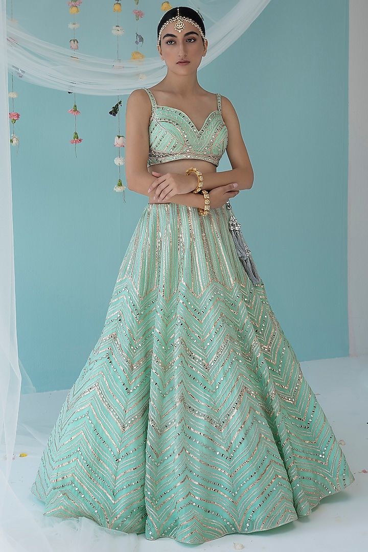 Ice Blue Mirror Embroidered Lehenga Set by the Indian bridal company