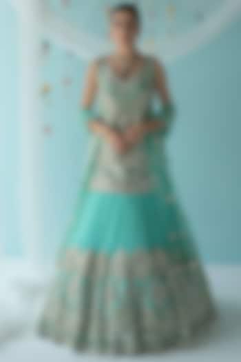 Turquoise Zari Embroidered Lehenga Set by the Indian bridal company