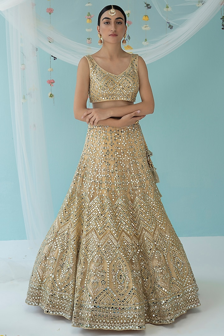 Gold Mirror Embroidered Lehenga Set by the Indian bridal company