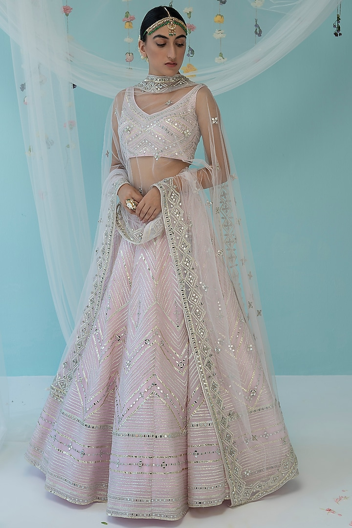 Blush Pink Embroidered Lehenga Set by the Indian bridal company