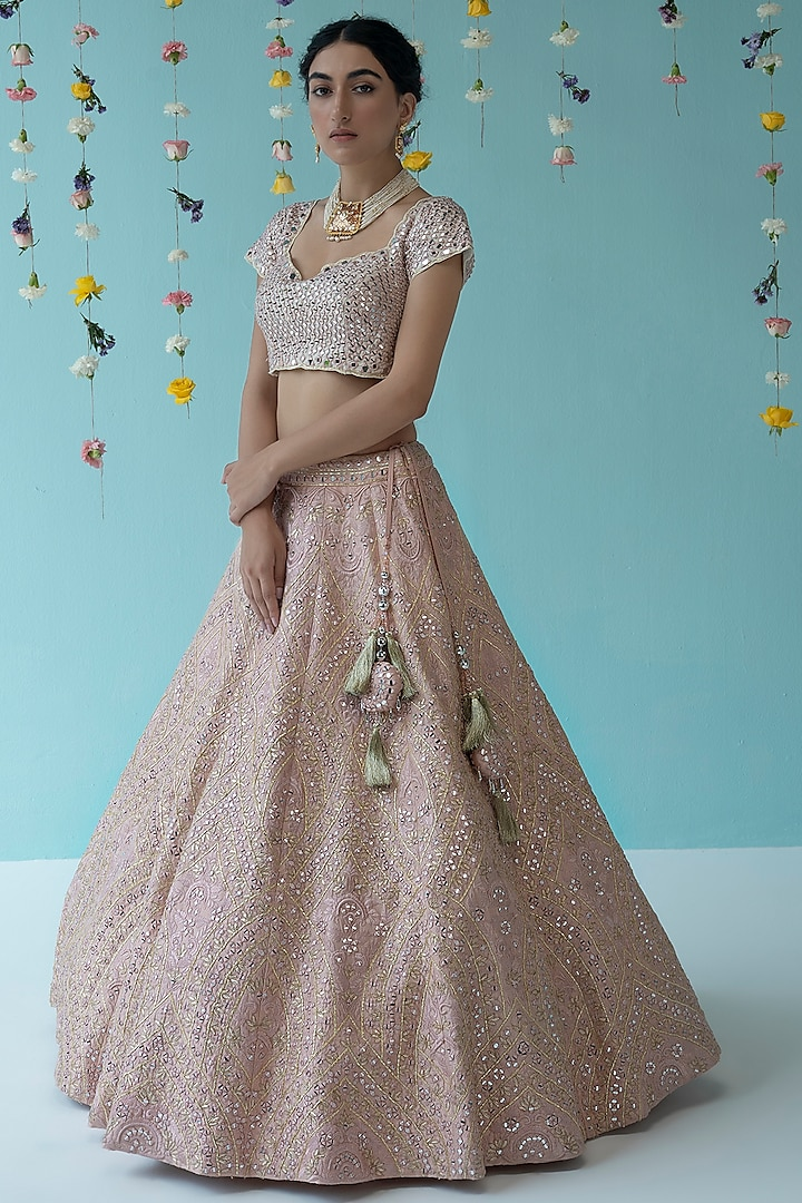 Peach Thread Embroidered Lehenga Set by the Indian bridal company