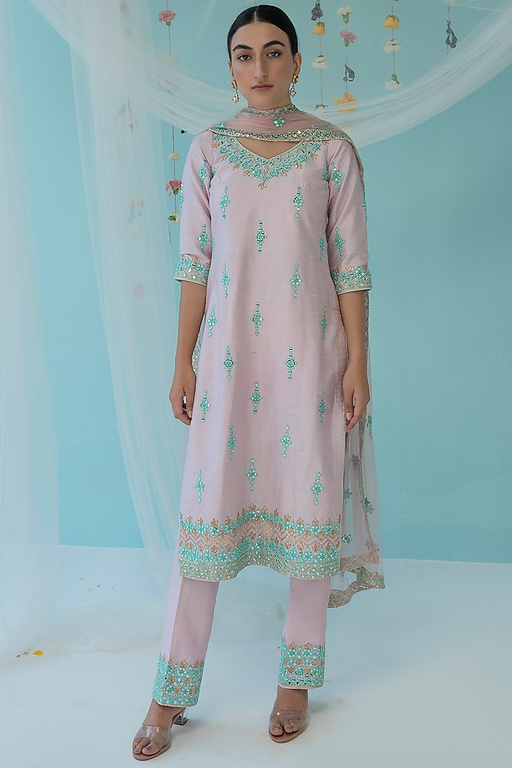 Blush Pink Thread Embroidered Kurta Set by the Indian bridal company