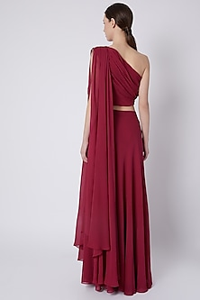 Fuchsia Embroidered Draped Top With Maxi Skirt by Tisharth by Shivani