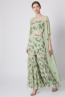 Mint Green Printed Embroidered Crop Top With Pants & Cape by Tisharth by Shivani
