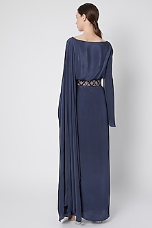 Navy Blue Draped Dress With Embroidered Belt by Tisharth by Shivani