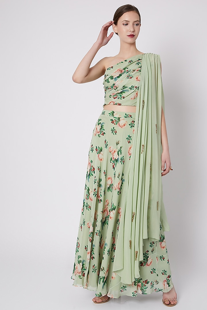 Mint Green Draped Crop Top With Skirt by Tisharth by Shivani