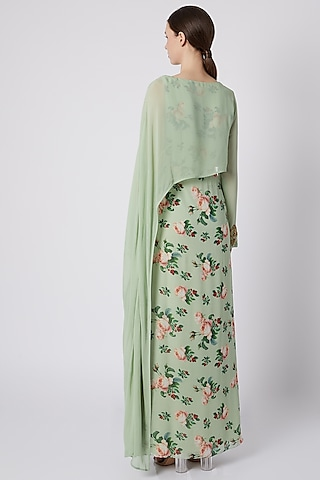 Mint Green Printed & Embroidered Draped Dress by Tisharth by Shivani
