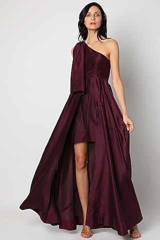 Aubergine Layered Gown With Tie-Up by Tisharth By Shivani