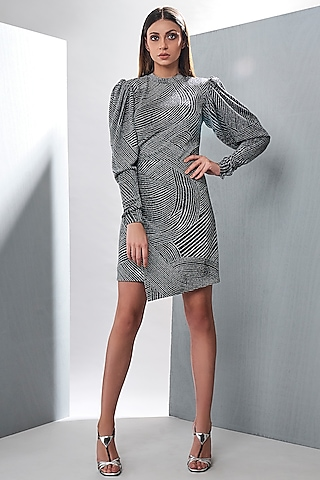 Silver Embossed Draped Dress by Tisharth by Shivani