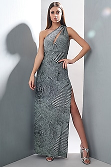 Silver Embossed Maxi Dress With Slit by Tisharth by Shivani