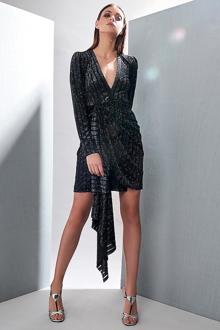 Black Mini Dress With Drape by Tisharth by Shivani