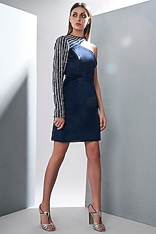 Navy Blue Embroidered Mini Dress by Tisharth by Shivani
