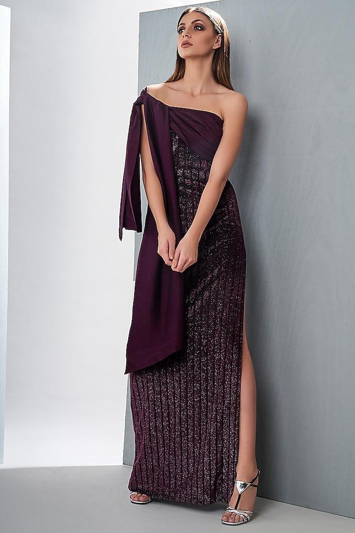 Wine Maxi Dress With Tie-Up by Tisharth by Shivani