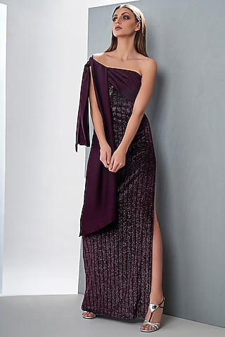 Wine Maxi Dress With Tie-Up by Tisharth by Shivani