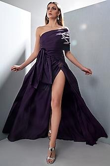 Aubergine Purple One Shoulder Gown by Tisharth by Shivani