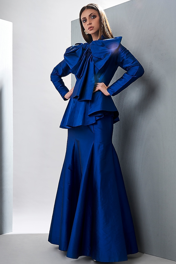 Royal Blue Peplum Gown With Bow by Tisharth by Shivani